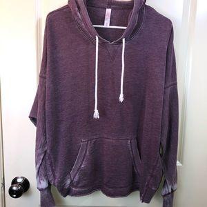 Burn Out Plum Colored Hooded Sweatshirt sz M